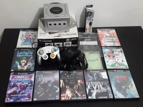 Game cube desbloqueado com 10 jogos, caixa e manual