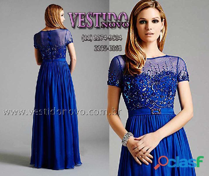 Vestido com manga e renda azul royal plus size, mãe de noivo