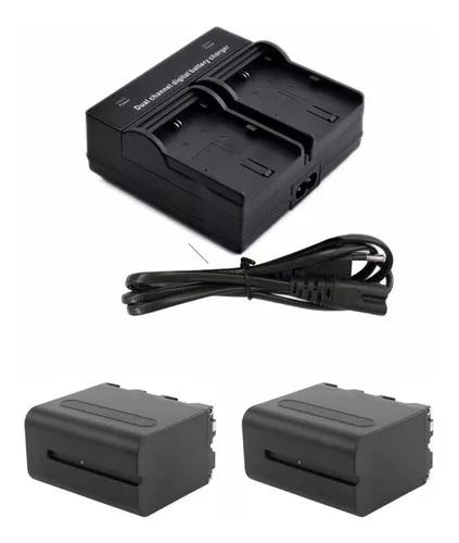 Carregador duplo com baterias f970 para led