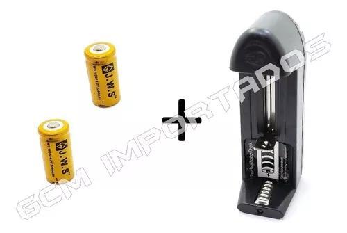 Carregador uni + 2x bateria recarregável jws 16340 cr123a