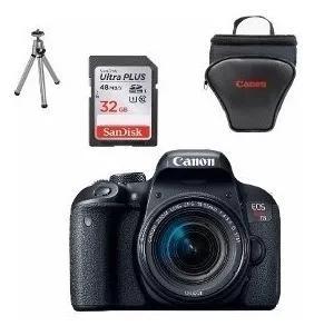 Câmera canon rebel t7i c/ 18-55 + 64gb + bolsa + tripé