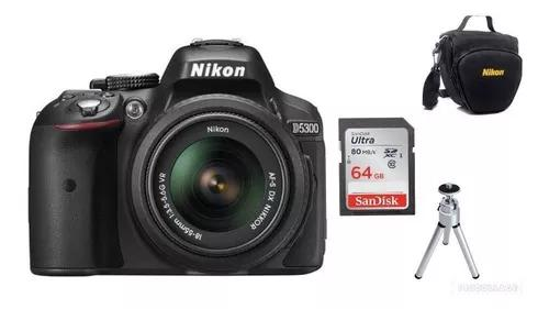 Câmera nikon d5300af-p18-55mm vr+64gb+bolsa+tripé