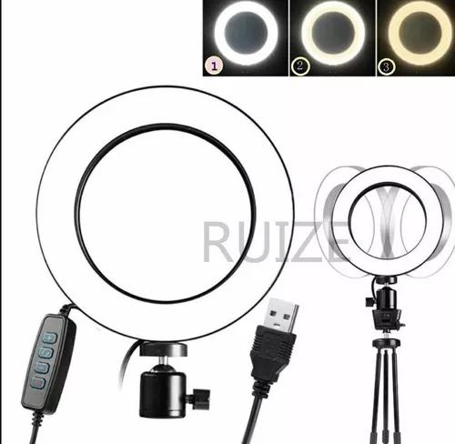Iluminador De Led C/mini Tripe Ringlight Usb 26cm 3500k6000k