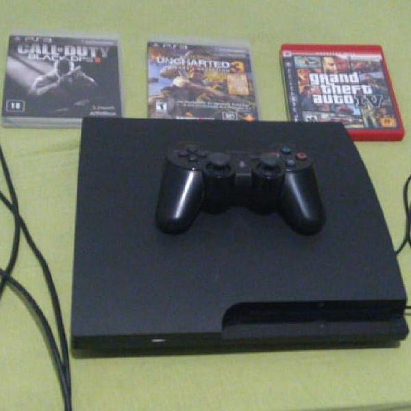 Playstation 3 com jogos e volante gamer completo