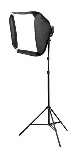 Softbox p/flash speedlight 60x60 godox +tripé iluminação