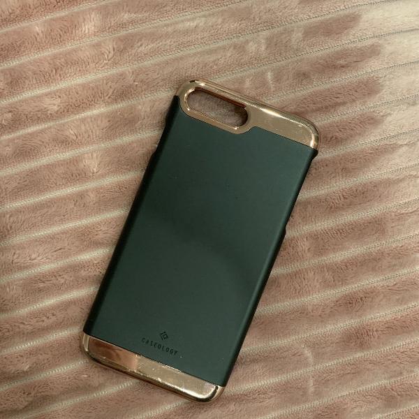 Capa para iphone 7/8 plus preta com rose