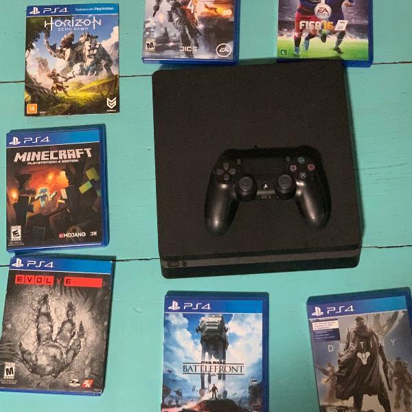 Playstation 4 slim 500 gb e 7 jogos inclusos