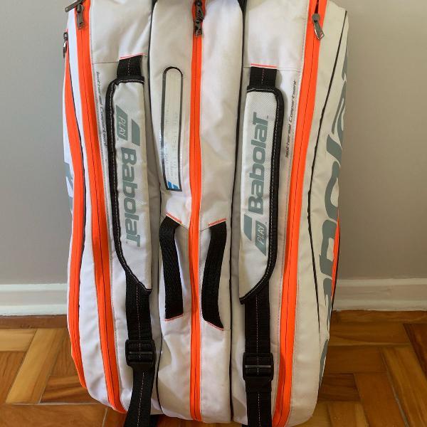 Raqueteira babolat pure strike x12 branca preta e laranja