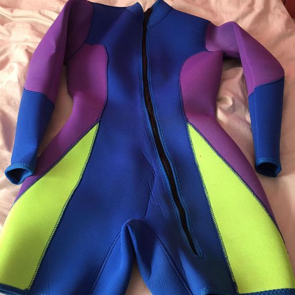 Roupa em neoprene manga longa 2 mm feminina surf tamanho m