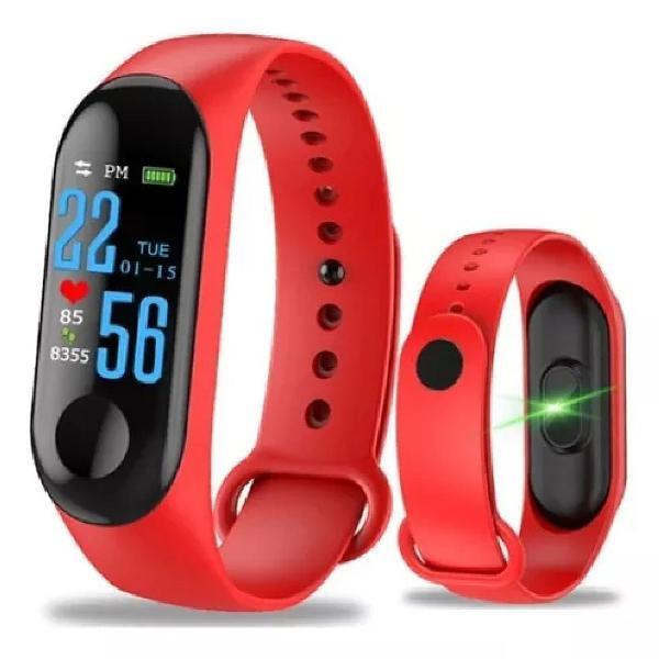 Smartband m3 pulseira inteligente vermelha