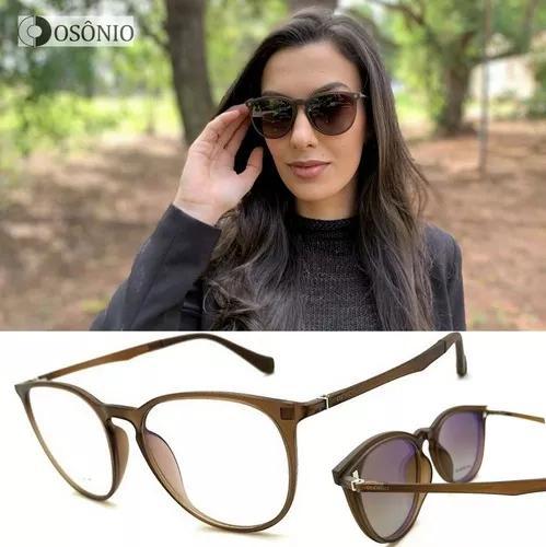 Armação oculos grau solar clip on f