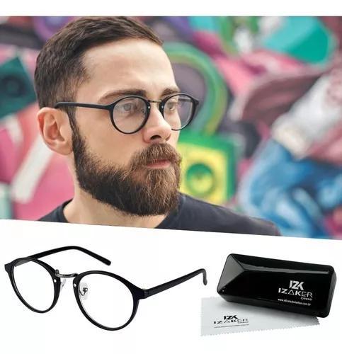 Armação óculos de grau masculino retrô preto redondo 137