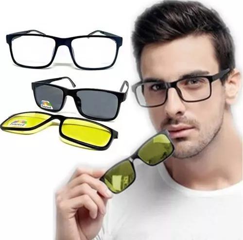 Armação óculos de grau/ sol com 2 lentes clip on + brinde