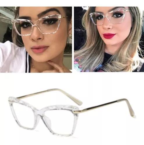 Armação óculos transparente com dourado leve f