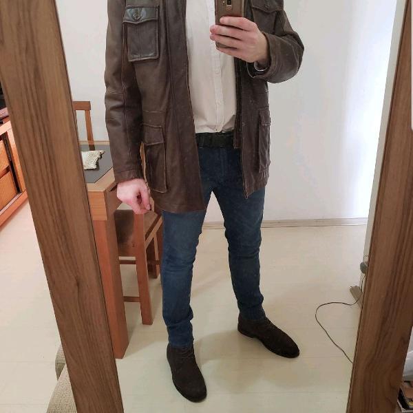 Jaqueta de couro legítimo marca mc neal