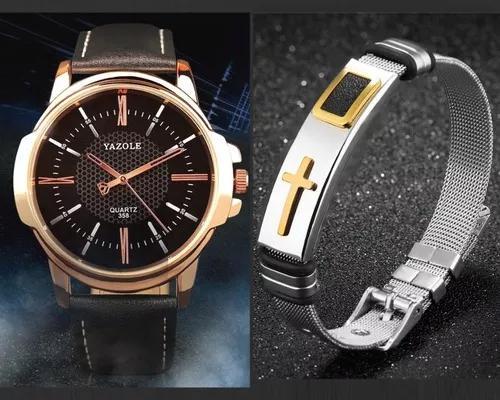 Kit relógio masculino yazole couro + pulseira