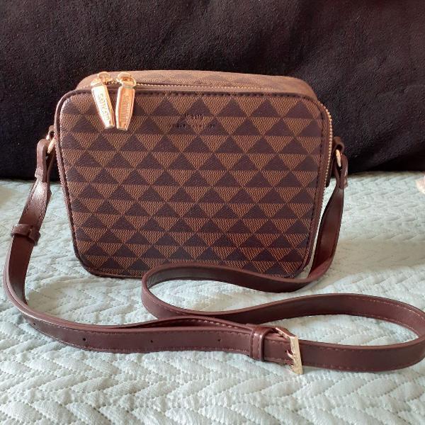 Nova! bolsa carteiro tema triângulos marrom dois tons