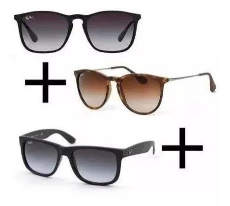 Oculos de sol kit c/3 classicos polarizados cores variadas