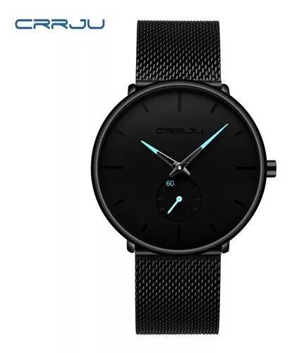 Relógio crrju ultra fino casual luxuoso a prova d'agua