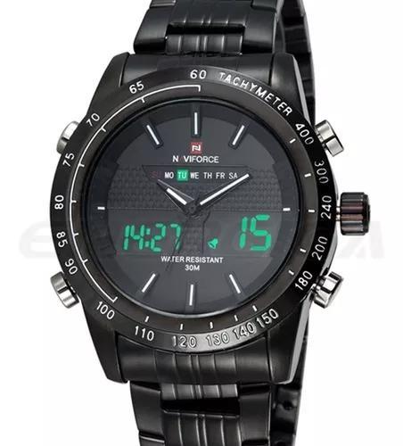 Relógio de pulso masculino esportivo naviforce aço led