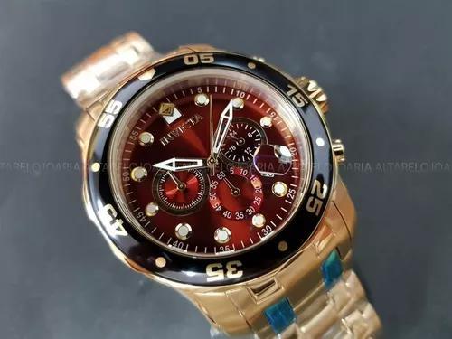 Relógio invicta pro diver 80065 plaque ouro cronógrafo