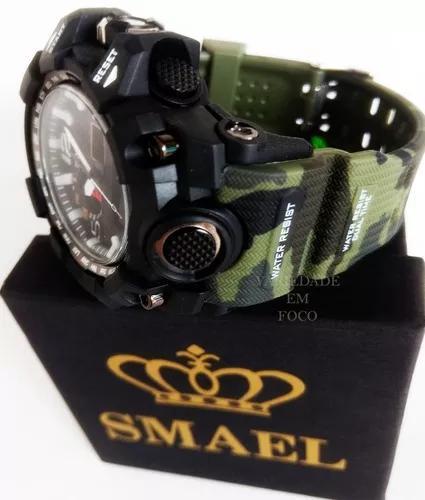 Relógio masc camuflado smael original militar prova d´