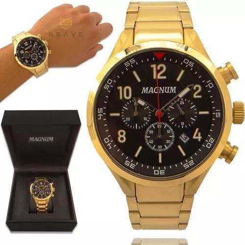 Relógio masculino dourado magnum ouro 18k 2 anos de