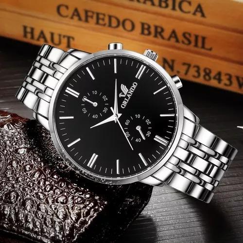 Relógio masculino social inox barato com caixa promoção