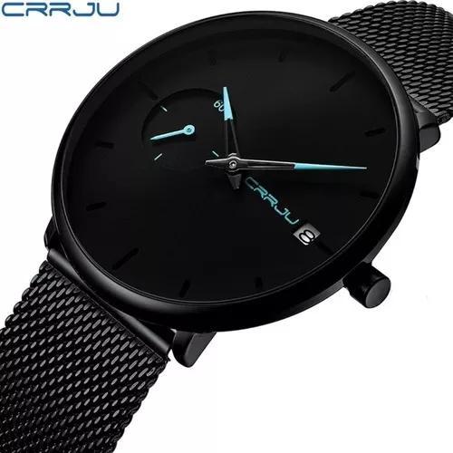 Relógio masculino social luxo crrju 2258 pulseira aço