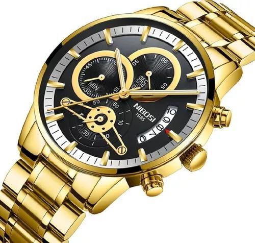 Relógio nibosi masculino original todo funcional 2309-1