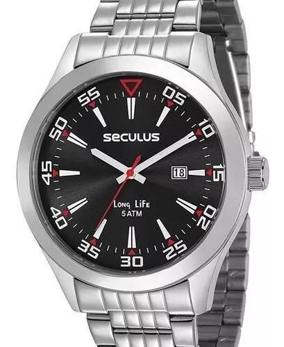 Relógio seculus masculino prata long life