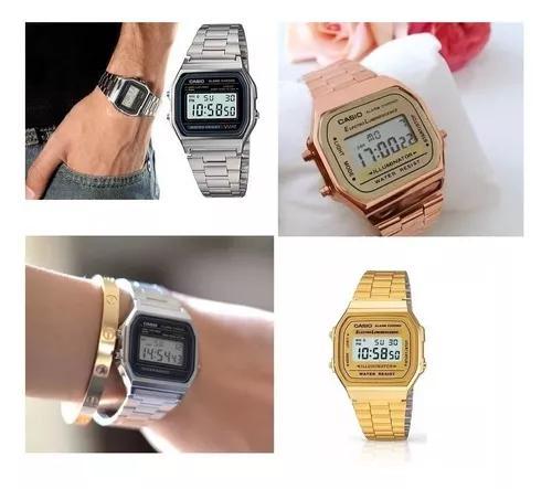 Relógio vintage pulso retro dourado prata rose preto