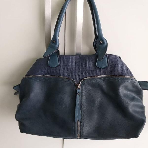 Bolsa couro ecológico azul