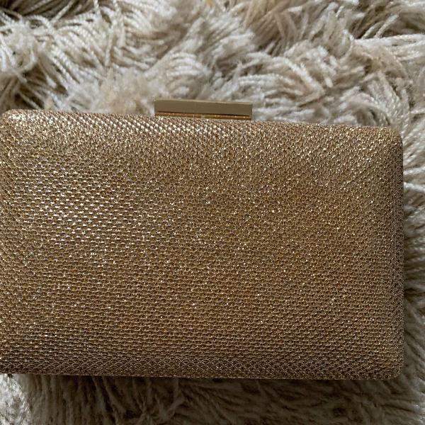 Bolsa festa clutch dourada com brilho