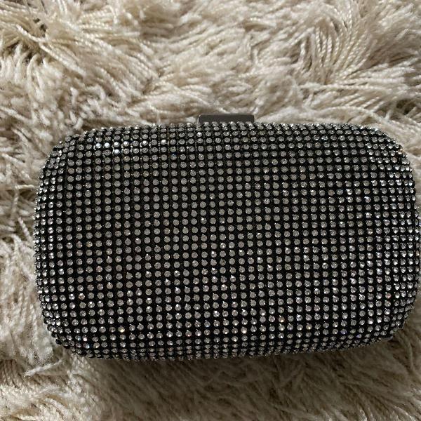 Bolsa festa clutch preta com brilho strass