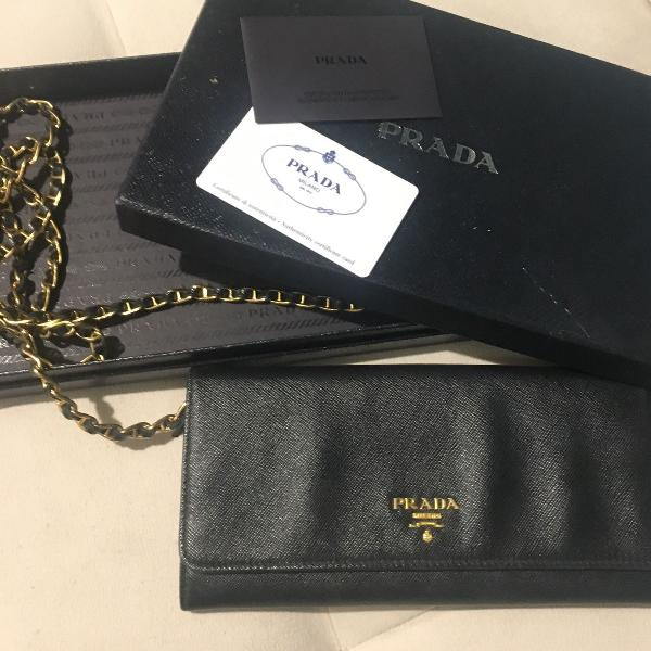 Bolsa prada saffiano metal original com cartão de