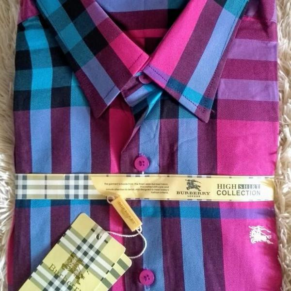 Camisa social masculino burberry pink e azul tam gg
