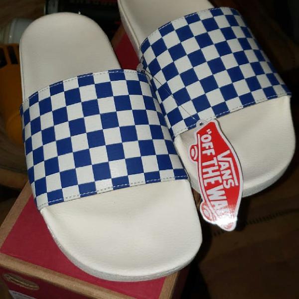 Chinelo vans slide on checkerboard true blue