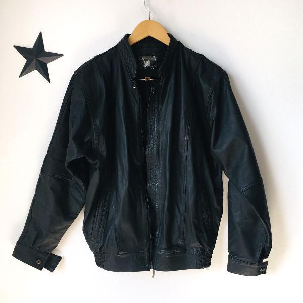 Jaqueta de couro masculina oversized motoqueiro
