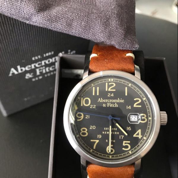 Relógio abercrombie e fitch couro
