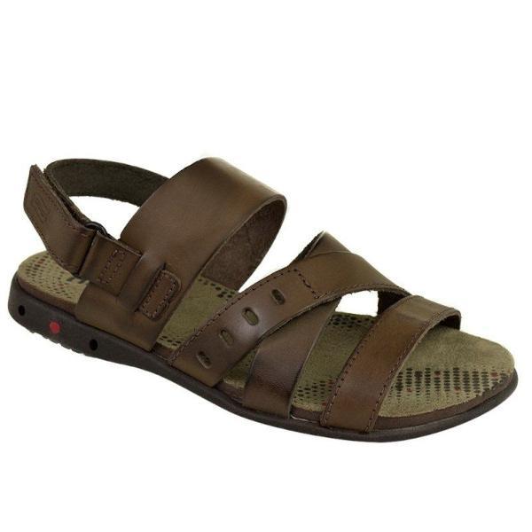 sandália itapuã masculino couro velcro - marrom