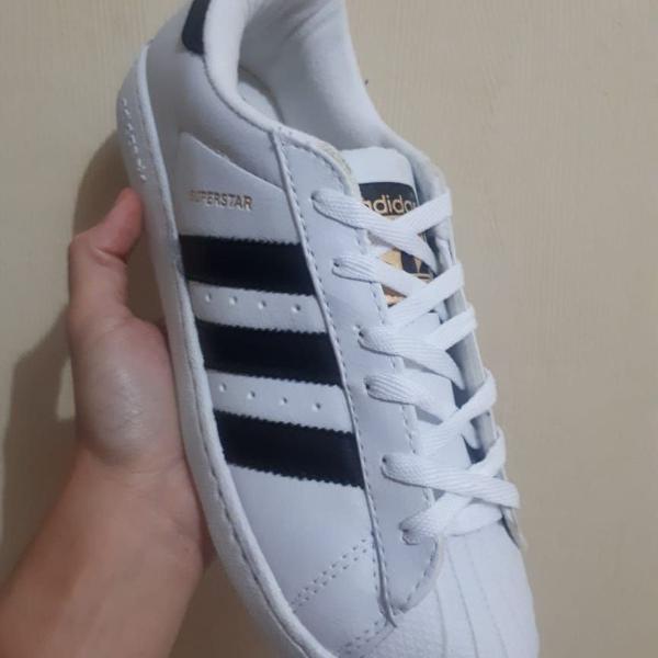 Tenis calçado adidas super star branco preto masculino