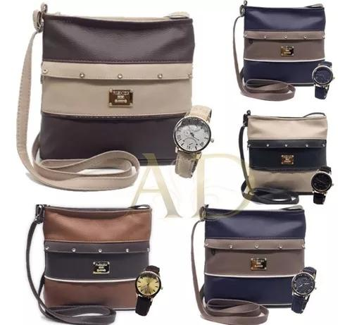 01 kit relógio de couro + bolsa vintage + caixinha