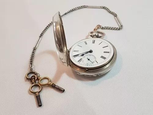 Antigo raro relógio de bolso inglês prata sterlina