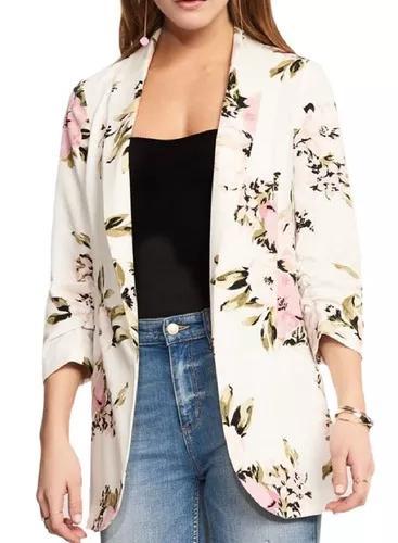 Ens office de manga comprida aberta frente floral blazer jac