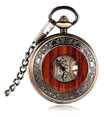 Homens bolso de madeira vintage relógio steampunk mão