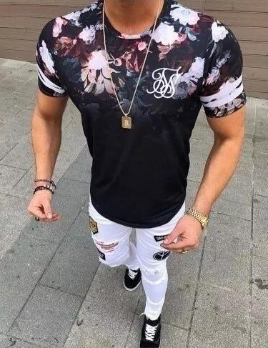 Homens top de manga curta camisas slim fit floral impresso t