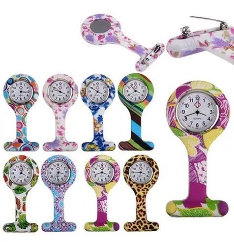 Kit 10 unidades relógio lapela silicone enfermag