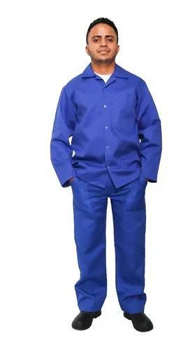 Kit 6 jaleco manga longa brim azul