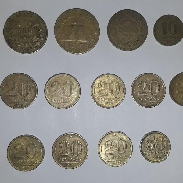 Lote de 17 moedas antigas de reis e cruzeiro em bronze